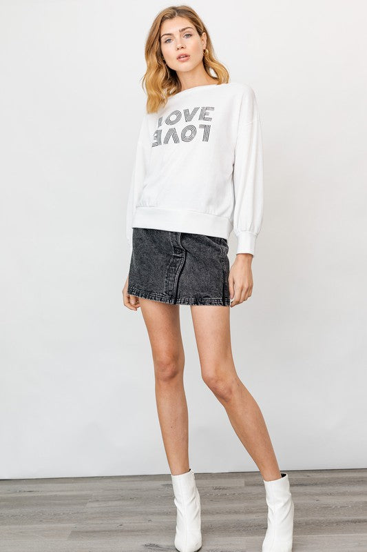 Off Shoulder Love Graphic Top
