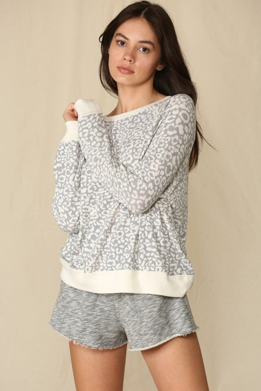 Raglan Sleeve Crew Neck Animal Print Top