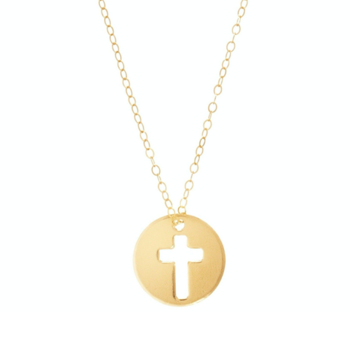 "16"" Gold Blessed Cut Out Cross Necklace"
