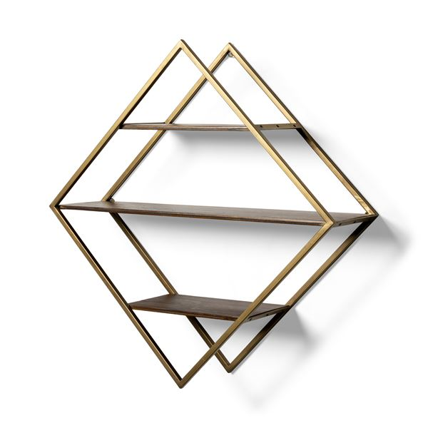 Brass Walnut Wall Shelf