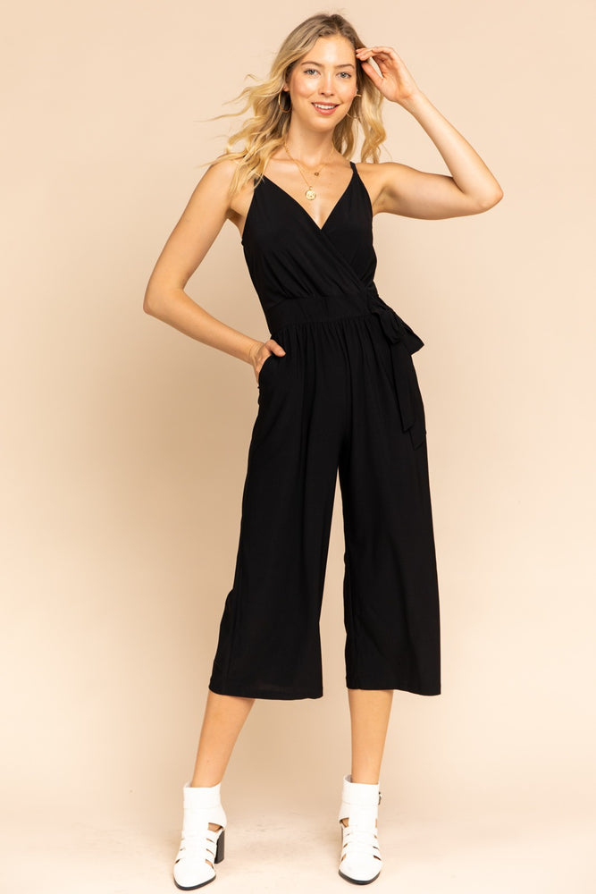 Solid Surplice Cropped Jumpsuit With Wrap Waist