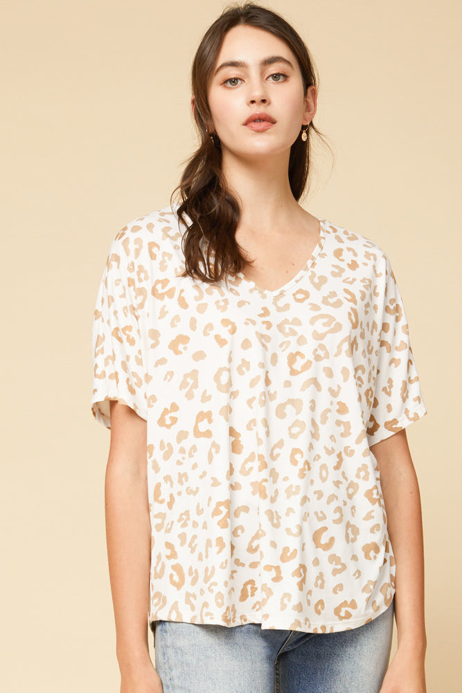 Tan Leopard V-Neck Shirt