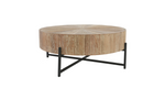 Alfred Round Wood Coffee Table on Metal Stand Base