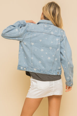 Load image into Gallery viewer, Star Print Denim Jacket