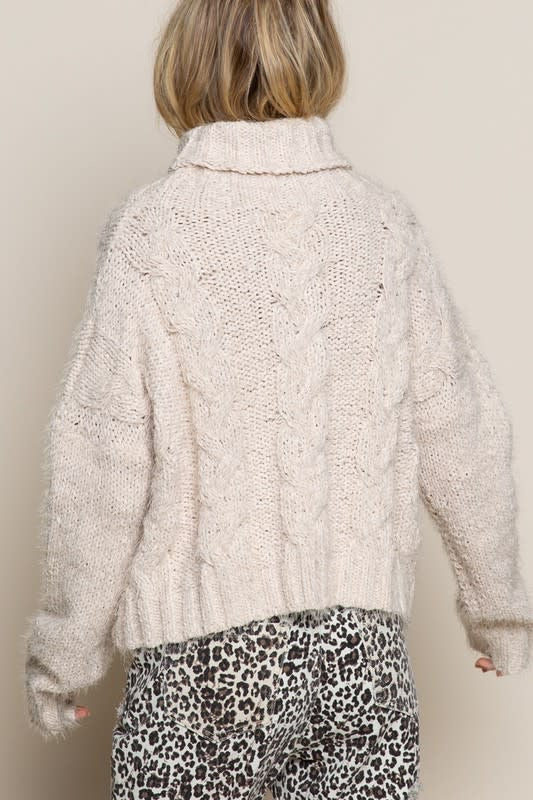 Mohair Turtleneck Knit Sweater