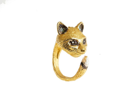 Gold Fennec Fox Ring