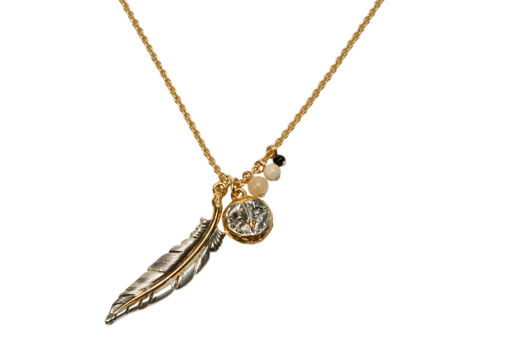 Small Owl Head with Feather Necklace
