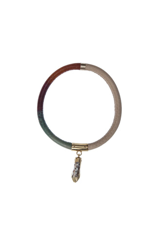 Petallic leather bangle