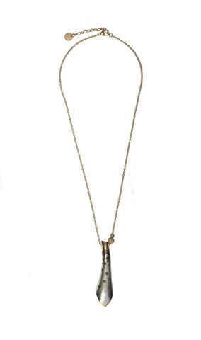 Gold tubular petal necklace