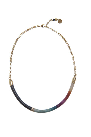 Gold leather spectrum necklace