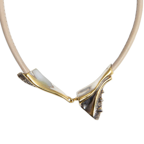 METALLIC FOLD NECKLACE FOSSIL COLOURED