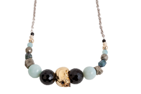 Semi Precious Gold Skull Necklace