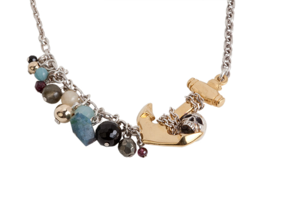 Heavy Golden Anchor and Skull with Semi Precious Stones Necklace