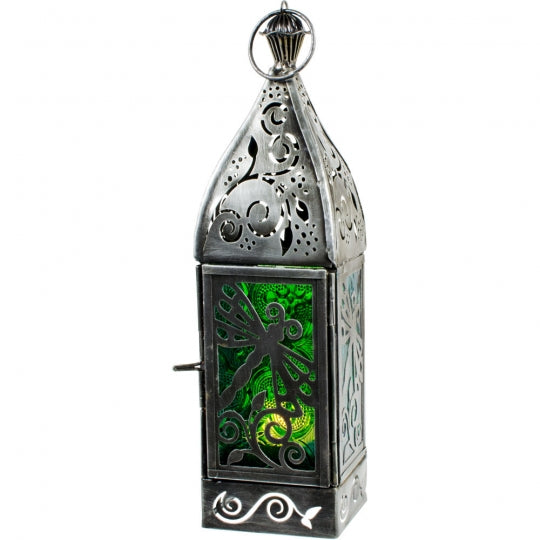 Dragonfly Glass & Metal Lantern | Green & Turquoise