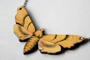"Enchanted Leaves - 18"" Yellow Oak Hawk Moth Necklace"