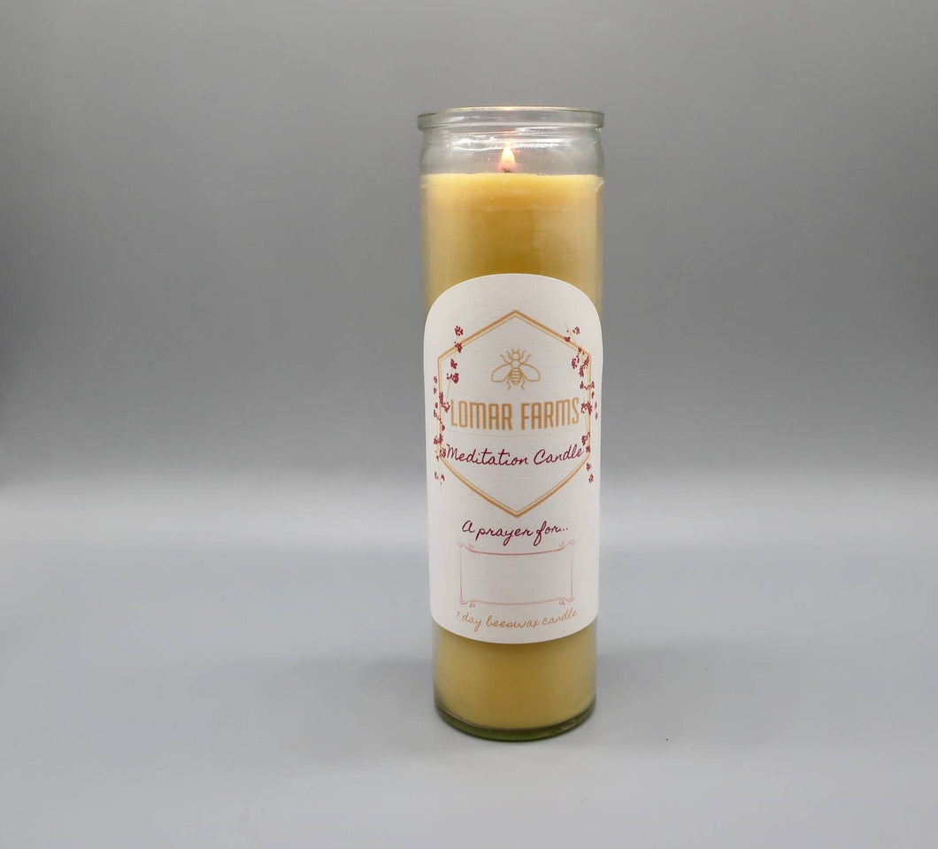 Lomar Farms Candle & Home - Meditation & Prayer Beeswax Candle 7 Day