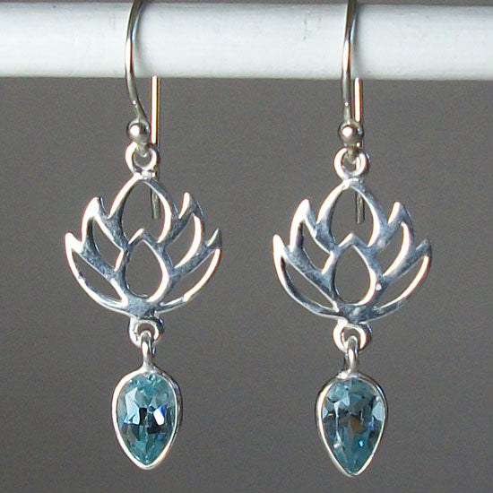 Lotus BlueTopaz Earrings