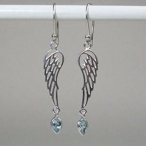 Angel Wings Blue Topaz Earrings