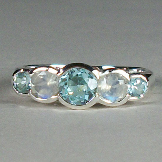 Topaz Blue & Moonstone Band Ring