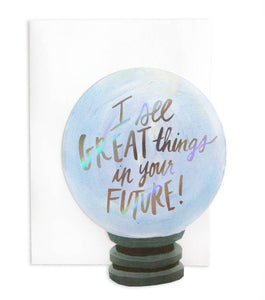 Thimblepress - Crystal Ball Die-Cut + Foil Stamped Greeting Card