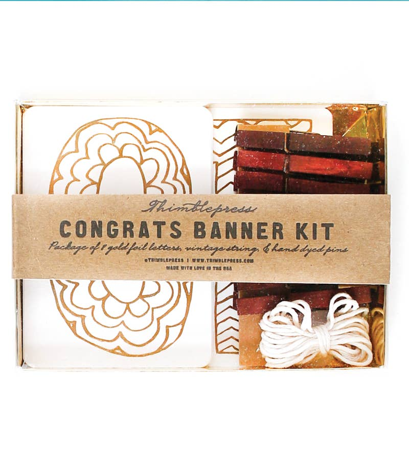 CONGRATS Gold Foil DIY Banner Kit