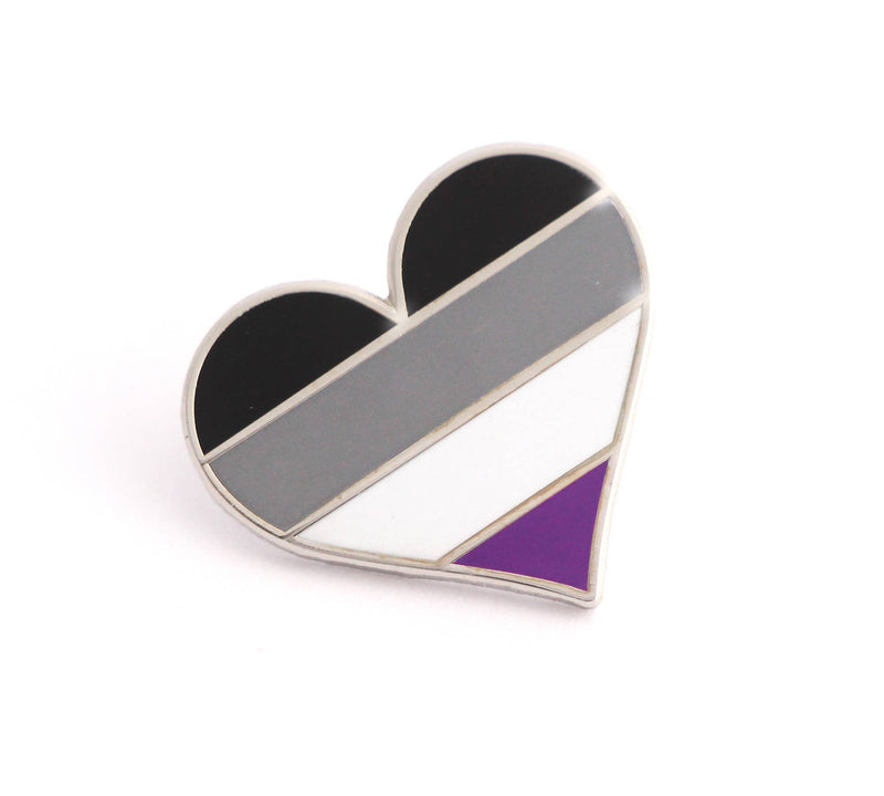Asexual Flag Heart Pin