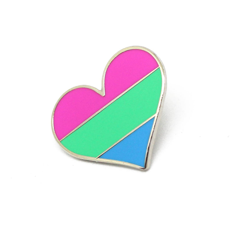 Polysexual Flag Heart Enamel Pin