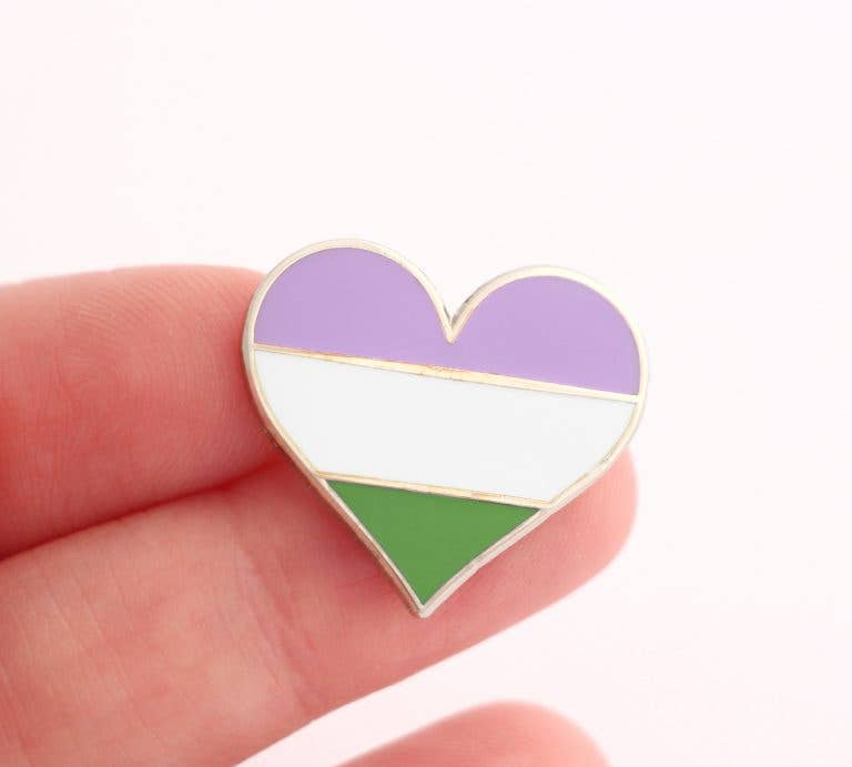 Queer Flag Heart Pin