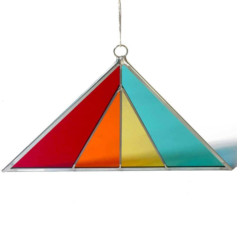 Modern Triangle Stained Glass Suncatcher