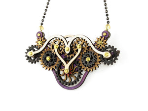 Green Tree Jewelry - Kinetic Winged Gear Necklace 4E