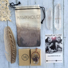 "Load image into Gallery viewer, Hawkhouse - 24"" Copper Raw Sapphire Crystal Pendant"