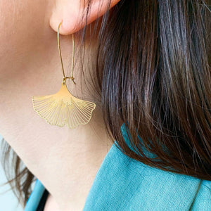 A Tea Leaf Jewelry - Ginkgo Biloba Leaf Earrings
