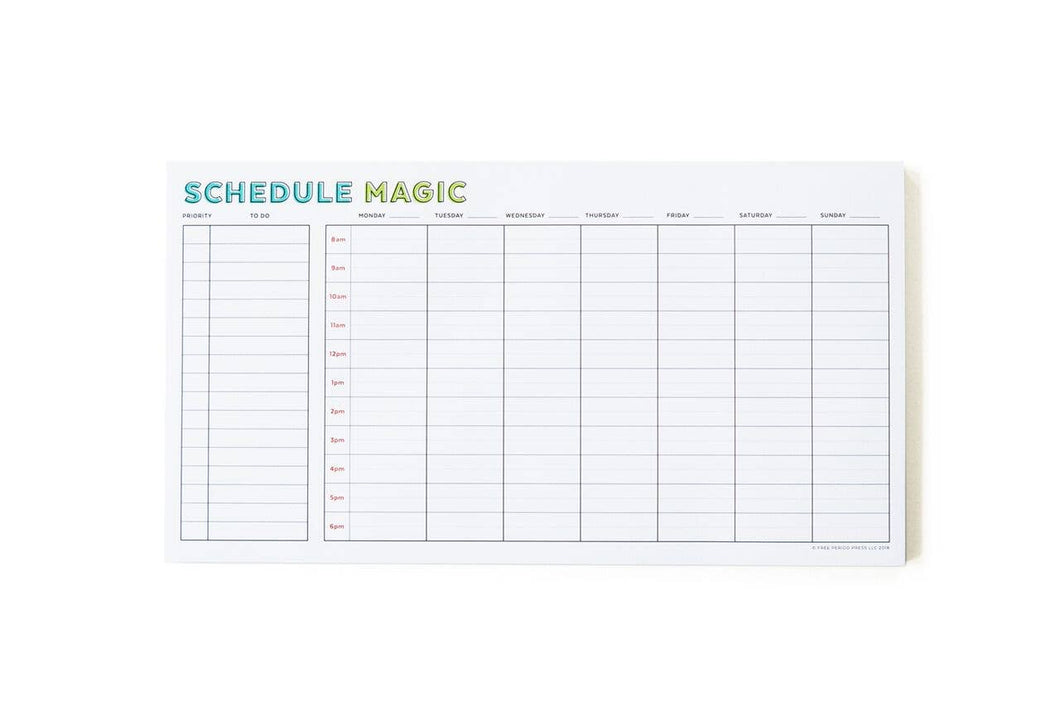 Free Period Press - Weekly Schedule Magic Notepad