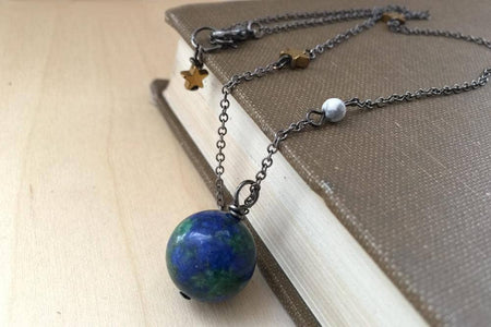 "Earth & Moon Necklace - 20"" long"