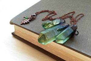 "Enchanted Leaves - 18"" Green Forest Aura Crystal Trio Necklace"