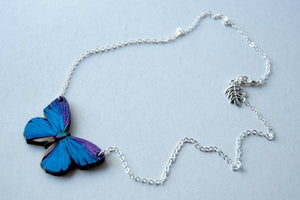 "Enchanted Leaves - 18"" Blue Morpho Butterfly Necklace"