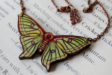 "Load image into Gallery viewer, Enchanted Leaves - 18"" Spanish Luna Moth Necklace"