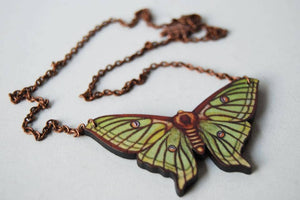 "Enchanted Leaves - 18"" Spanish Luna Moth Necklace"