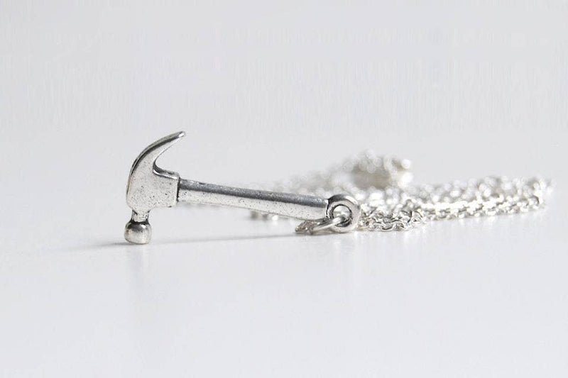 "Little Silver Hammer Necklace - 18"" long"