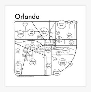 Archie's Press - Orlando Map Print