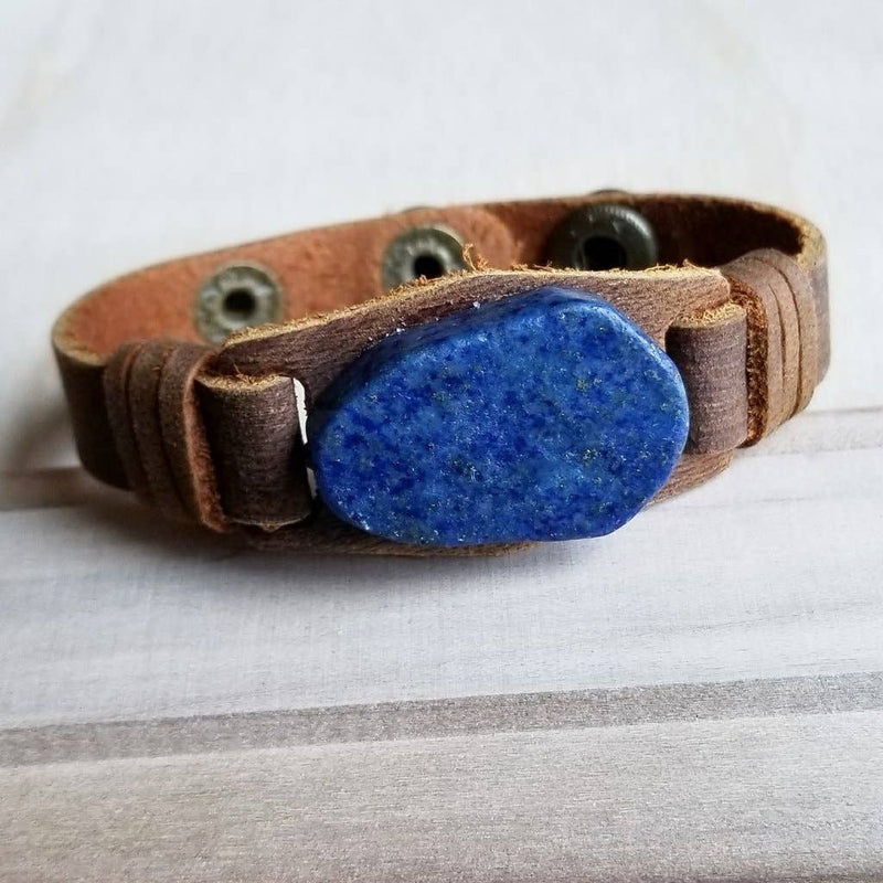 Narrow Leather Cuff with Navy Blue Lapis Gemstone Chunk