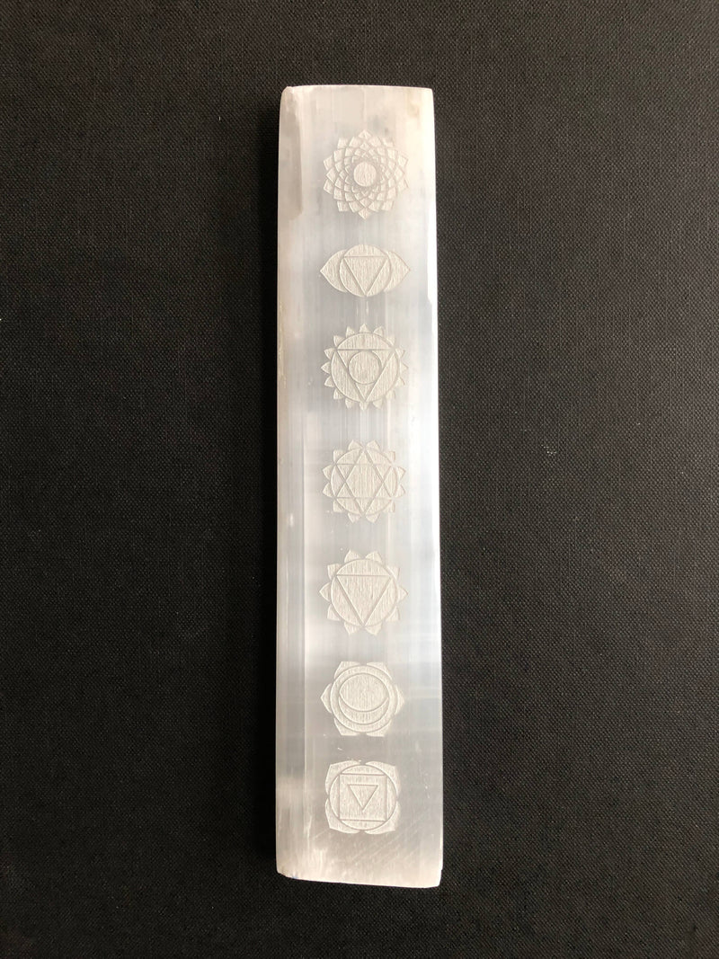 Selenite Platform Engraved Chakras  (Calming, Peaceful, Energy Clearing)