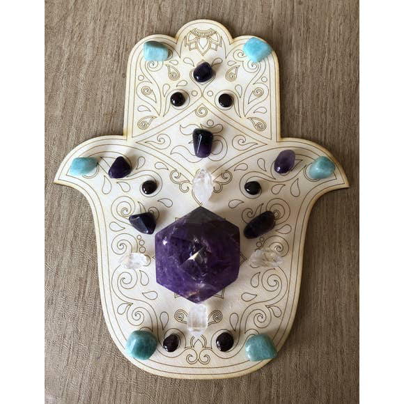 Zen and Meow - Hamsa Crystal Grid