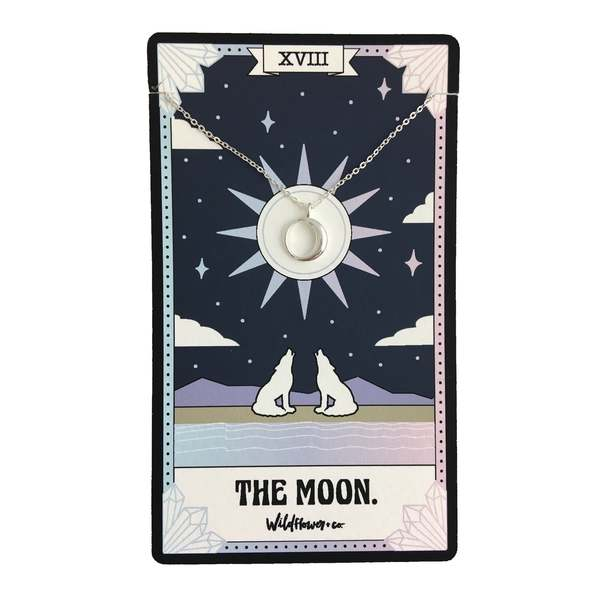Wildflower + Co. - Tarot Card Necklace, The Moon - Sterling Silver