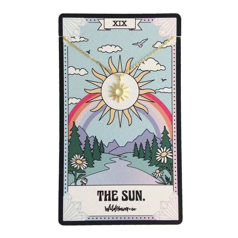The Sun Tarot Card Necklace - Sterling Silver