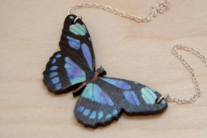 "Enchanted Leaves - 18"" Blue Longwing Butterfly Necklace"