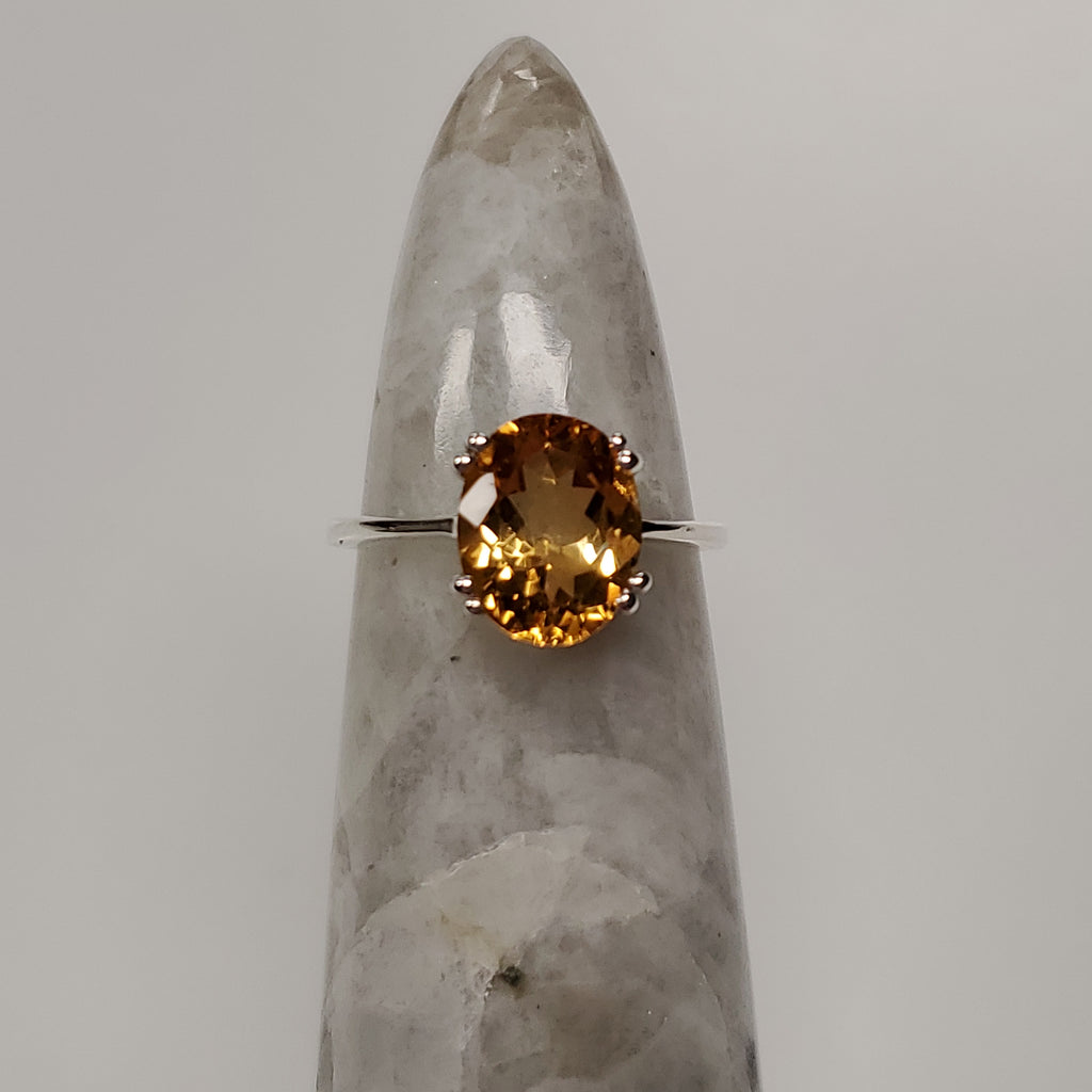 Citrine Oval Ring | Sterling Silver