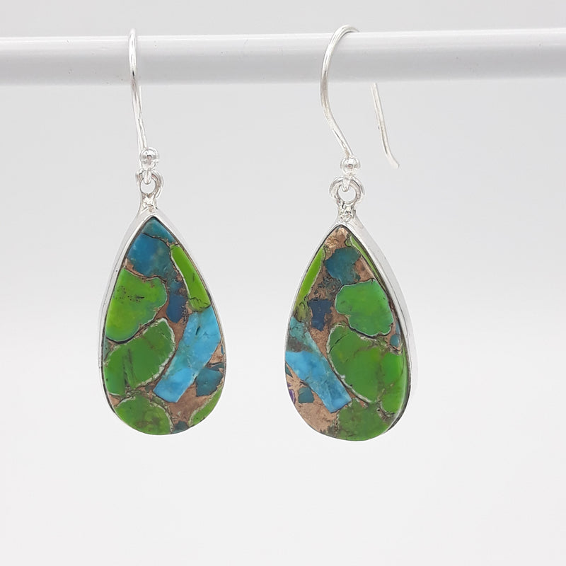 Multi Copper Turquoise Teardrop Earrings | Sterling Silver