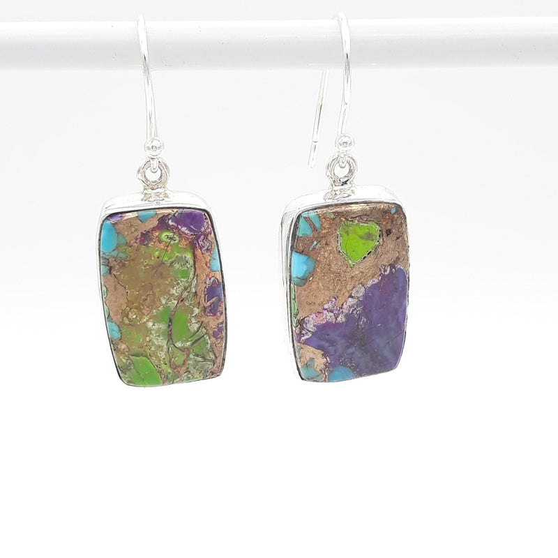 Multi Copper Turquoise W/ Purple Rectangle Earrings | Sterling Silver