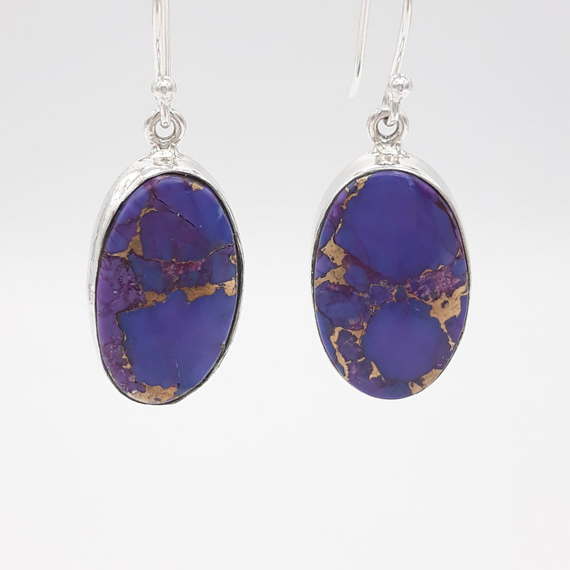Purple Copper Turquoise Grace Oval Earrings | Sterling Silver